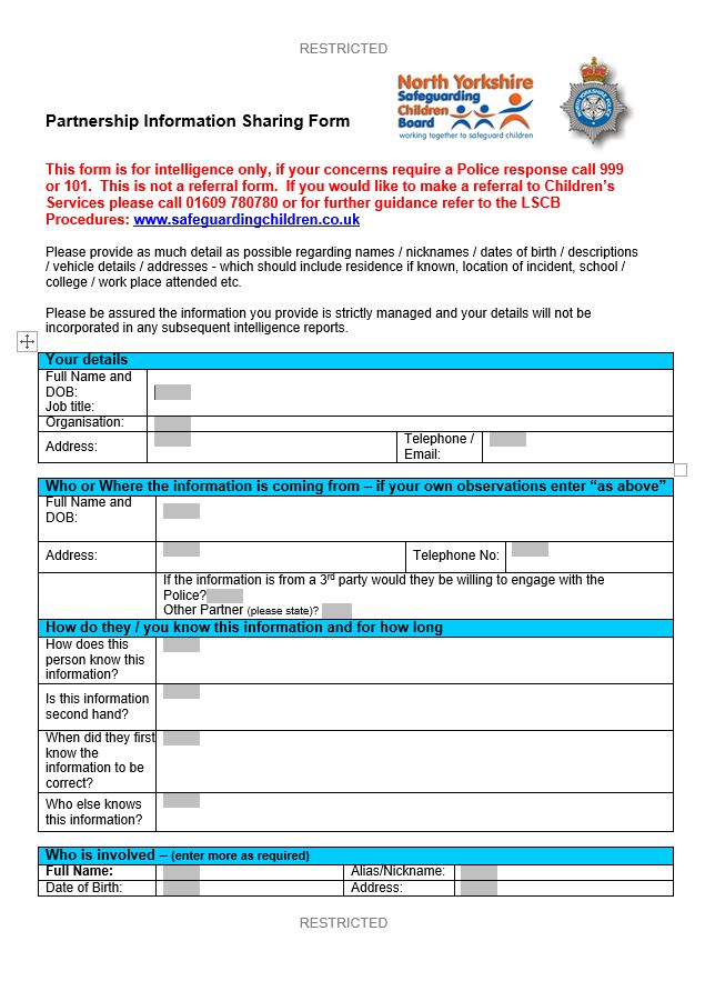 Partnership Information Sharing Form