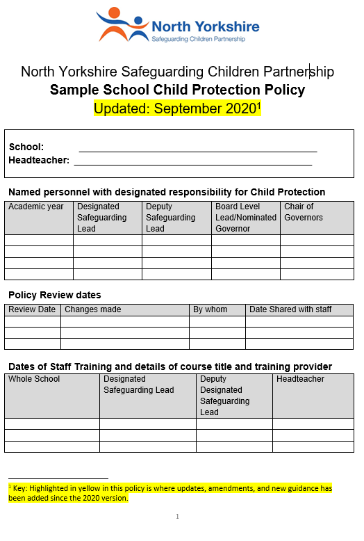 Sample School CP Policy