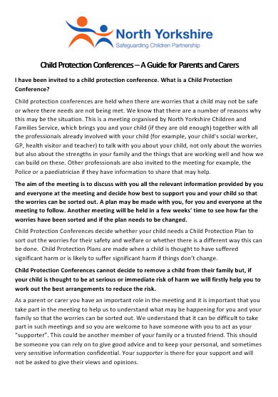 Download the Child Protection Conference Guide for Parents and Carers