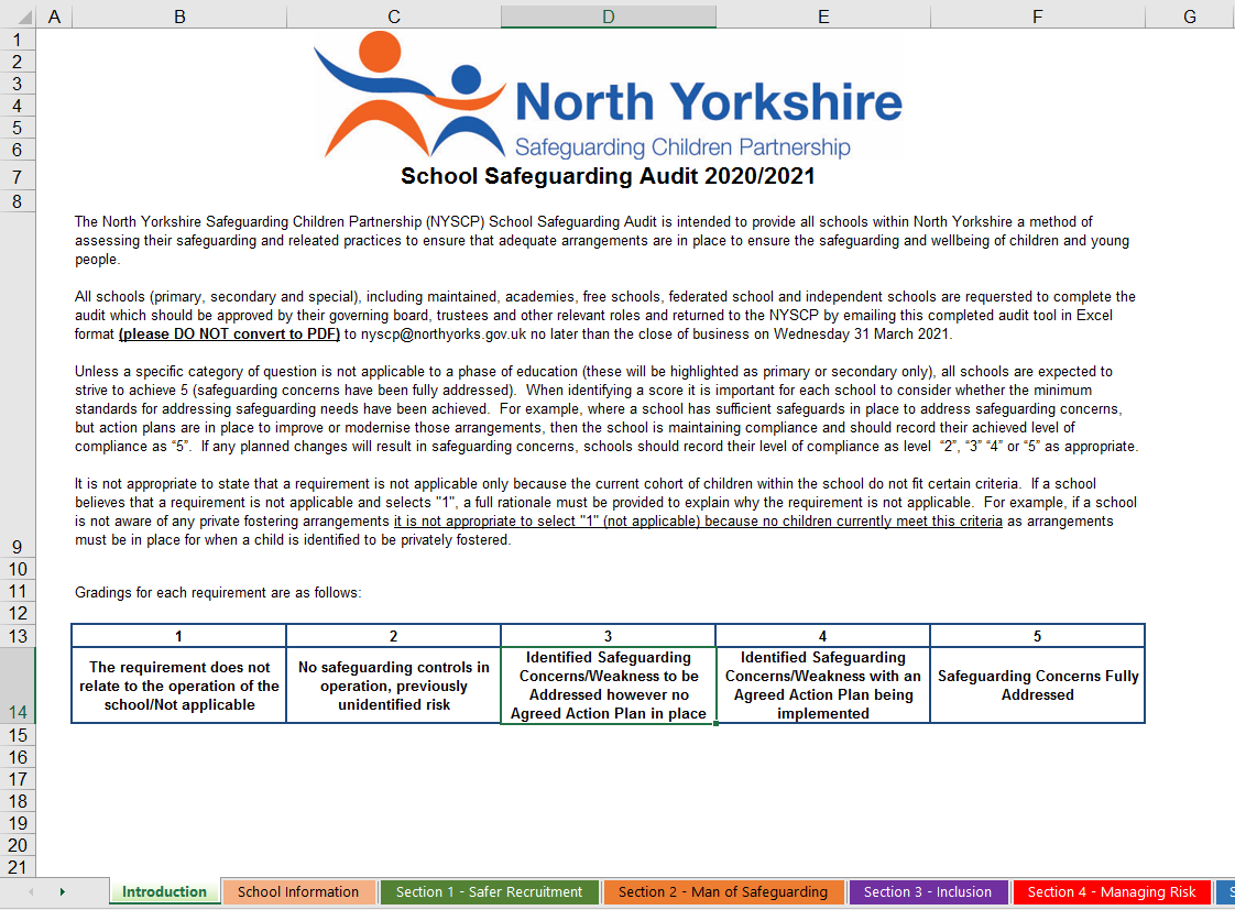 Download the Safeguarding School Audit Tool