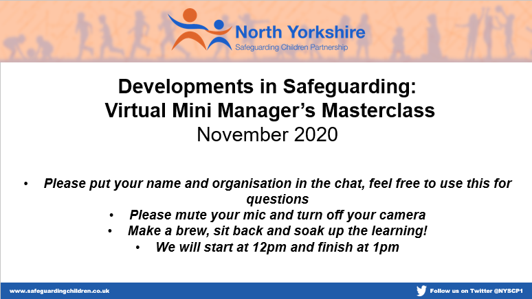 Development in Safeguarding Manager's Masterclass Nov 2020