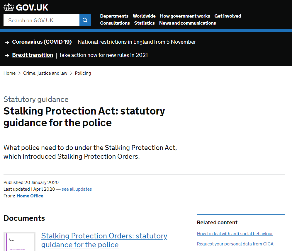 Visit the Stalking Protection Orders Government Website